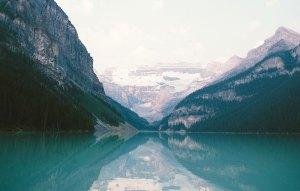 mountain with a blue lake