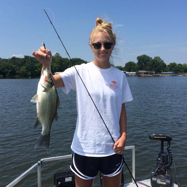 White bass fishing at Grand Lake in June