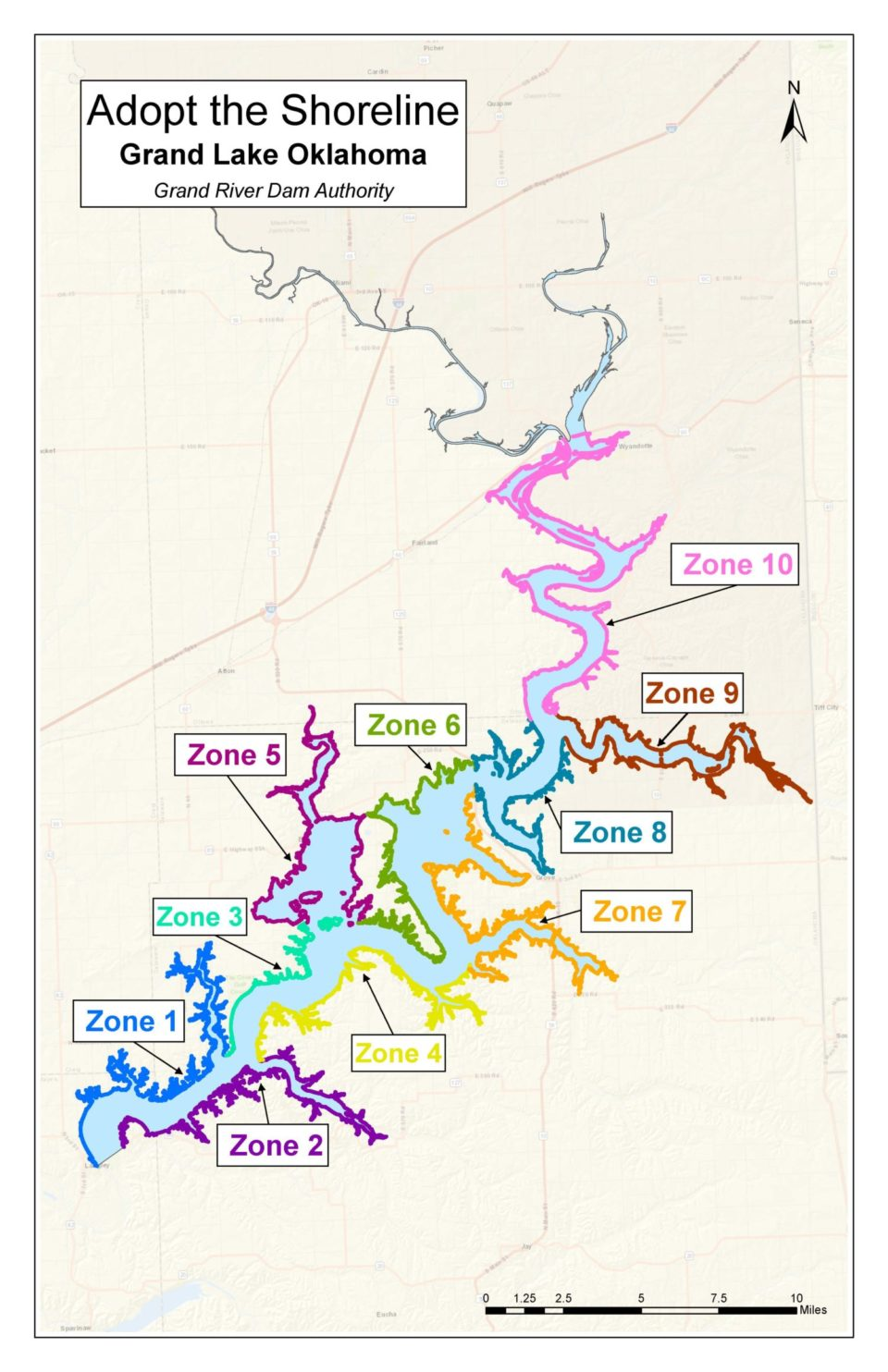 Grand Lake Adopt the Shoreline zone map