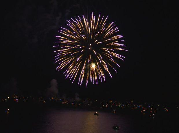 Lakefront fireworks in Oklahoma