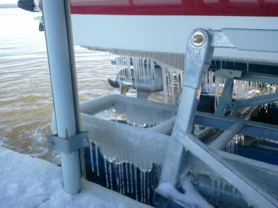 Grand Lake dock in winter