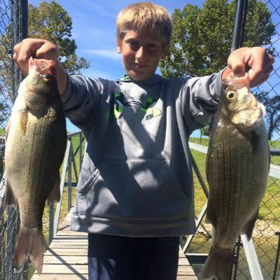 Kids catching white bass at Grand Lake OK