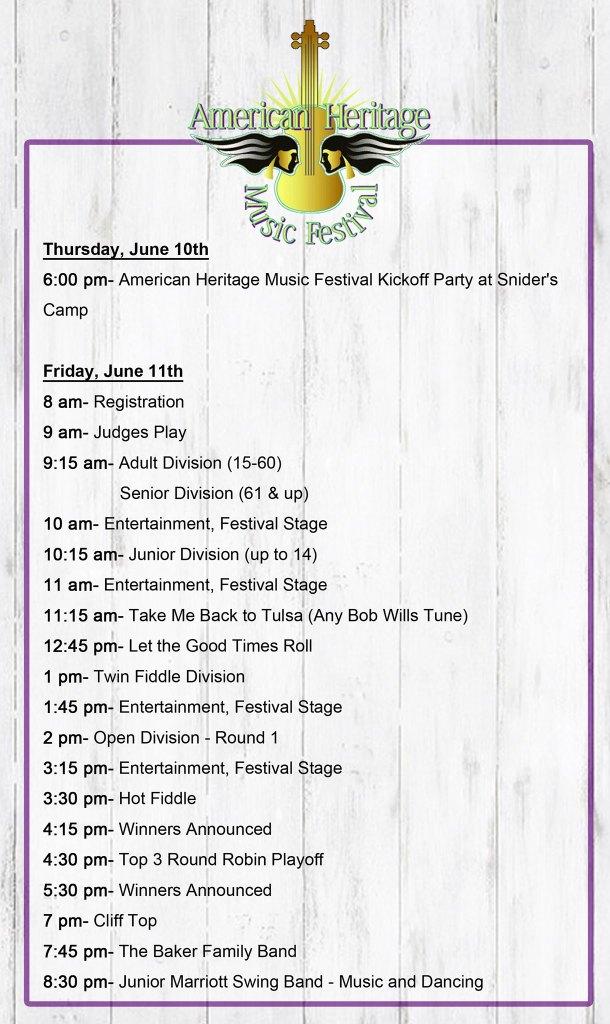 Fiddle festival schedule