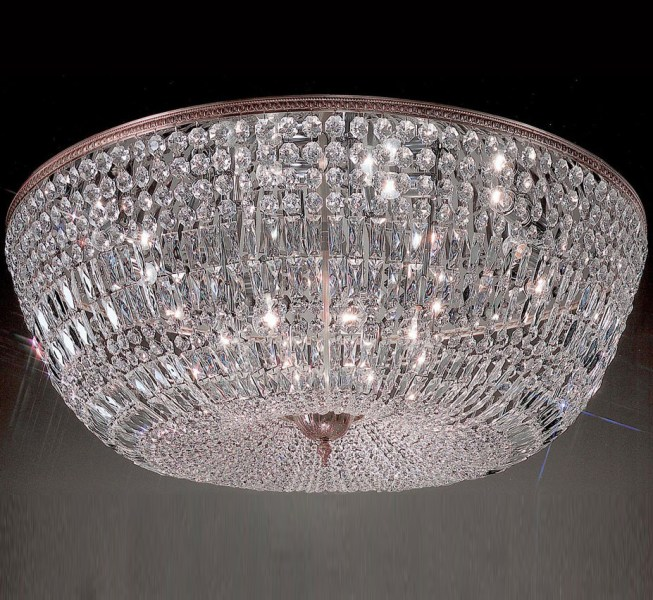 Crystal Baskets Collection 48    Dia Extra Large Brass   Crystal Flush         Large Brass   Crystal Flush Mount Ceiling Light  facebook share