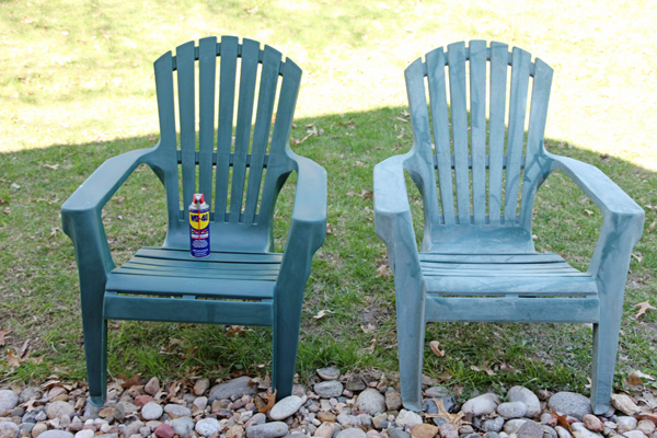 use wd 40 on plastic furniture to make it look new grand little place