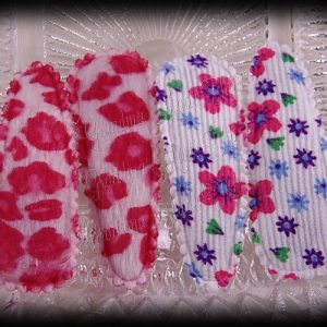 50mm Snap Clippies White Floral Pink Cheetah Pairs