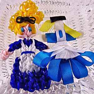 Alice in Wonderland Ribbon Sculpture Hairclip Loom Doll Set One