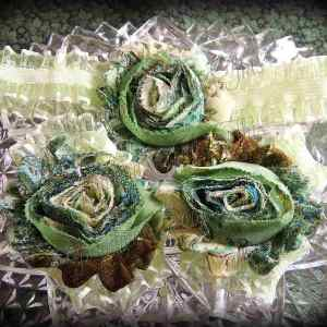Barefoot Sandals Matching Headband Lime Brown Floral Shabby Chic