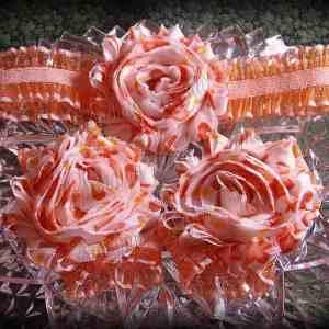 Barefoot Sandals Matching Headband Orange Heart Shabby Chic Flower