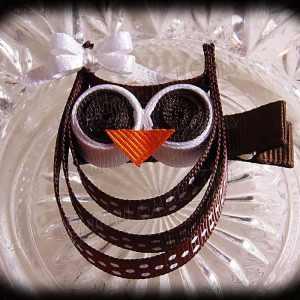 Brown White Polka Dot White Bow Ribbon Sculpture Owl