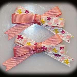 Petite Quad Barrette Hairbow Set Butterflies Light Pink