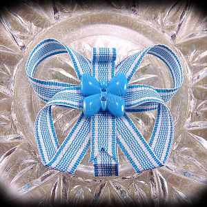 Stripes Butterfly Ribbon Sculpture Hair Clips