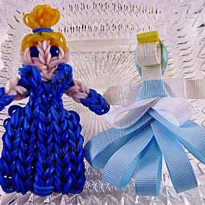 Cinderella Ribbon Sculpture Hairclip Loom Doll Dark Blue Eyes Set