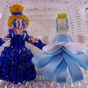 Cinderella Ribbon Sculpture Hairclip Loom Doll Light Blue Eyes Set