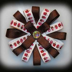 Cupcake Row Brown Loopy Flower Bow
