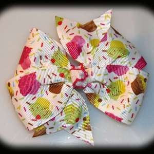 Food Large Quad Pinwheel Hair Bows