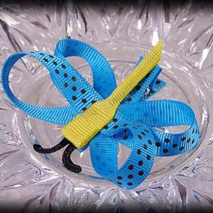 Dragonfly Ribbon Sculpture Turquoise Brown Polka Dots