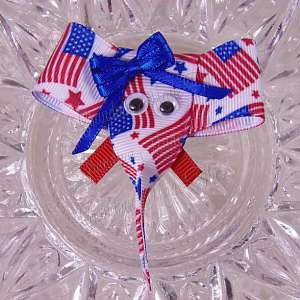 Patriotic July 4th Elephant Ribbon Sculpture Hairclips