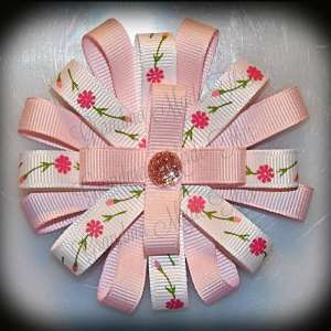 Flowers 'n Buds Pink Loopy Flower Hair Bow