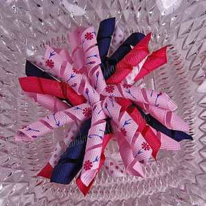 Flowers n Buds Pink 1 Korker Ribbon Bow