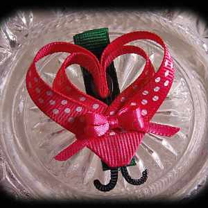Hot Pink White Polka Dot Lovebug Heart Ribbon Sculpture Hairclip
