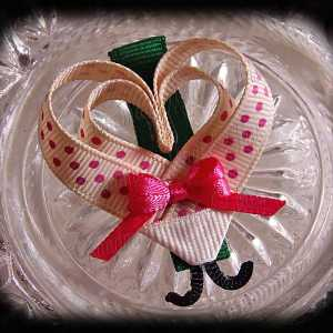 Ivory Pink Polka Dot Lovebug Heart Ribbon Sculpture Hairclip