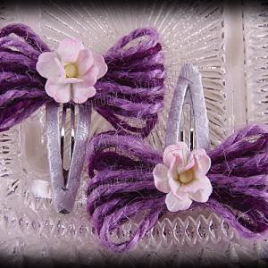Jute Bow Flower Snap Clippie Pair Purples 1