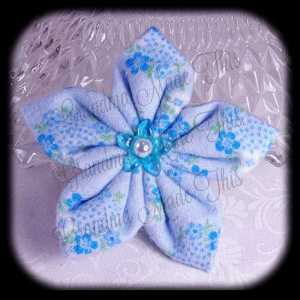 Kanzashi Flannel Star Hair Bow 6