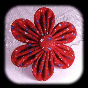 Kanzashi Flower Orchid Petals Down Hair Bow 14