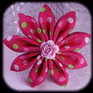Kanzashi Flower Petals Down Hair Bow 10