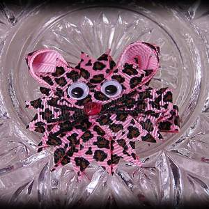 Kitty Ribbon Sculpture Pink Cheetah