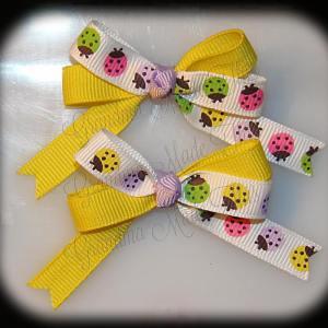 Petite Quad Barrette Hairbow Set Ladybugs Yellow