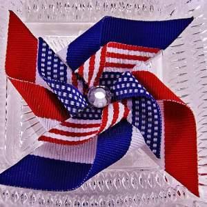 Large Pinwheel Hair Clips Patriotic July 4th