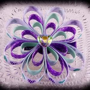Lavendar Mint Hearts Ribbon Sculpture Flower Bow