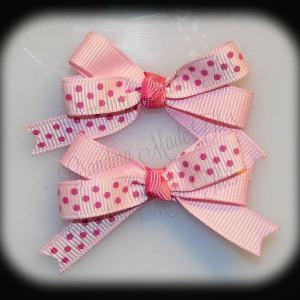 Petite Quad Barrette Hairbow Set Pink Polka Dots