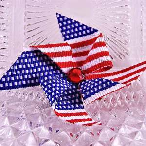 Medium Single Patriotic Pinwheel Hair Clips