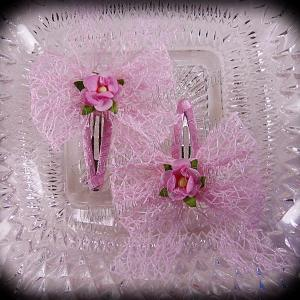 Mesh Ribbon Flower Snap Clippies Pastel Pink