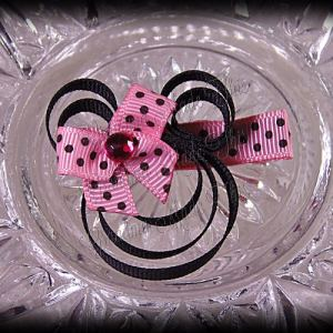 Minnie Mouse Ribbon Sculpture Pink Black Polka Dots