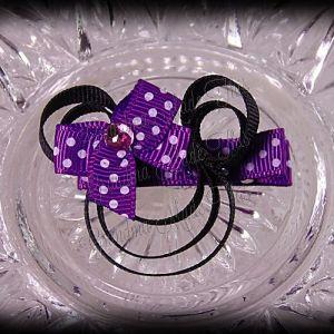 Minnie Mouse Ribbon Sculpture Purple White Polka Dots