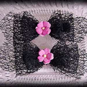 Netting Ribbon Tuxedo Hair Bows Blacks