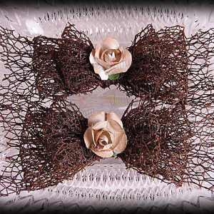 Netting Ribbon Tuxedo Hair Bows Browns