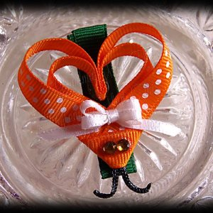 Orange White Polka Dot Lovebug Heart Ribbon Sculpture Hairclip 2