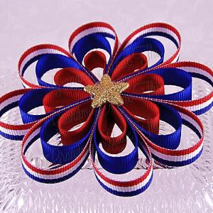 Patriotic Stripes Gold Sparkle Star Ribbon Sculpture Flower Bow