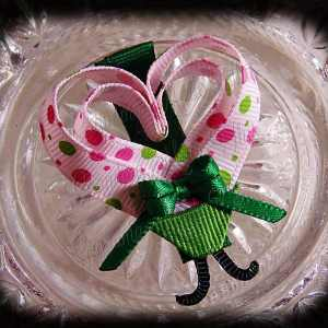Pink Green Polka Dot Lovebug Heart Ribbon Sculpture Hairclip