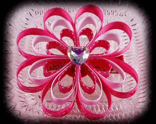 Pink Hearts White Ribbon Sculpture Flower Bow