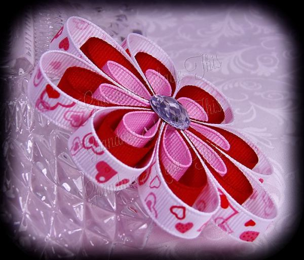 Pink Red Heart Ribbon Sculpture Flower Bow