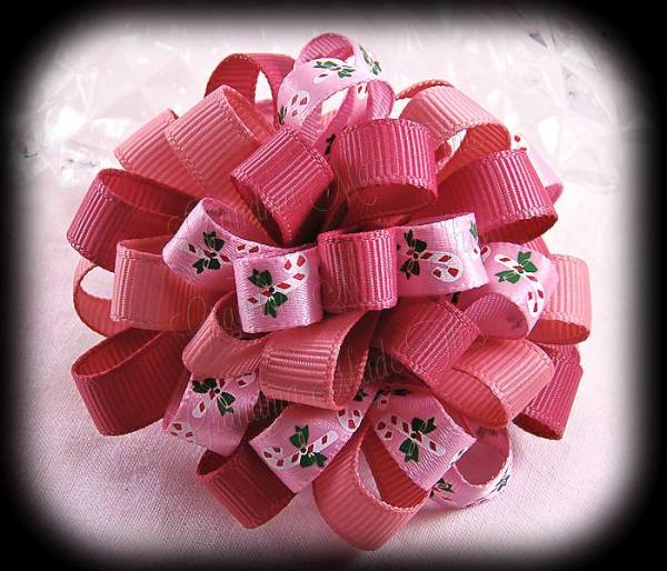 Pink Rose Candy Canes Loopy Puff Ball Hair Bow