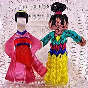 Princess Mulan Ribbon Sculpture Hairclip Loom Doll Set One