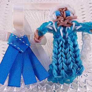 Princess Queen Elsa Ribbon Sculpture Hairclip Loom Doll Set One