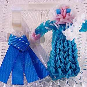 Princess Queen Elsa Ribbon Sculpture Hairclip Loom Doll Set Two